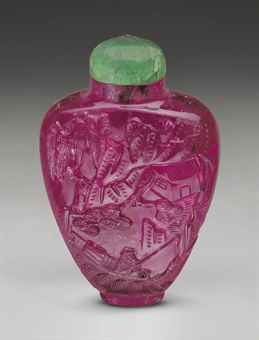 Carved pink tourmaline snuffbottle. Christies.
