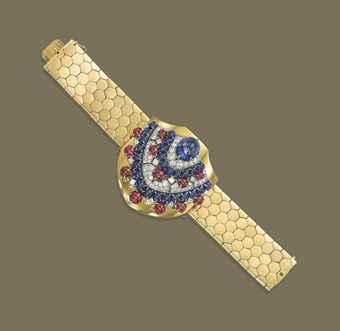 A RETRO SAPPHIRE, RUBY AND DIAMOND CLIP BROOCH/BRACELET