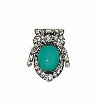 An Art Deco turquoise and diamond brooch