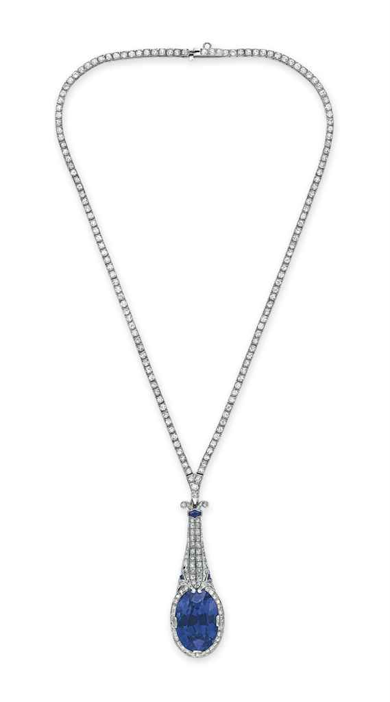 AN ART DECO SAPPHIRE AND DIAMOND NECKLACE, BY TIFFANY & CO