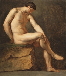 a seated male nude<br />