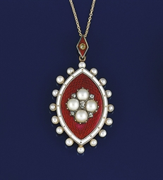 A Victorian gold, diamond and enamel locket pendant