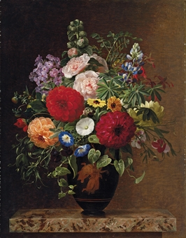 Convulvulus, dahlias, lupins and stocks in a Greek vase