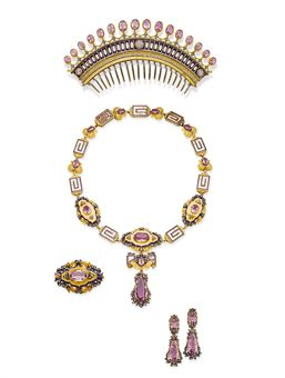 AN ANTIQUE PINK TOPAZ, ENAMEL, DIAMOND AND GOLD PARURE