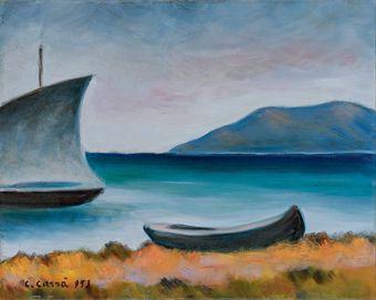 Carlo Carrà (1881-1966) Marina con vela