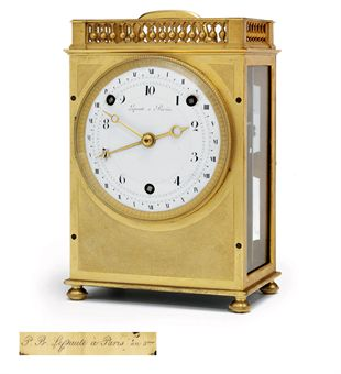 A FRENCH REPUBLICAN ORMOLU PENDULE PORTATIVE SHOWING BOTH DECIMAL AND DUODECIMAL TIME AND STRIKING DECIMAL TIME