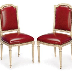 Cream Upholstered Dining Chairs Easy Clean High Chair Fisher Price A Set Of Six Painted And Red Leather