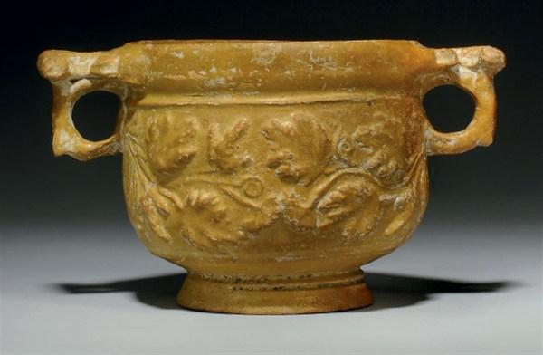 Roman Lead Glazed Pottery Skyphos Circa 1st Century