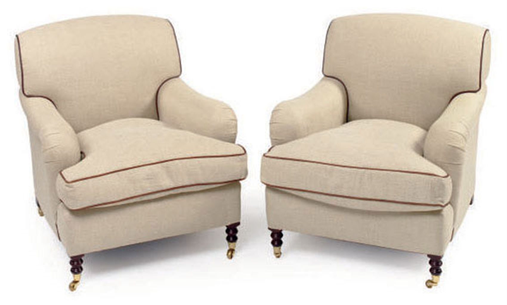 cream club chair country kitchen table and chairs a pair of leather trimmed twill upholstered