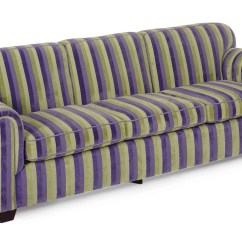 Striped Sofa Old Pottery Barn Styles A Purple And Green Plush Upholstered