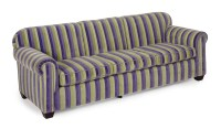 A PURPLE AND GREEN STRIPED PLUSH UPHOLSTERED SOFA ...