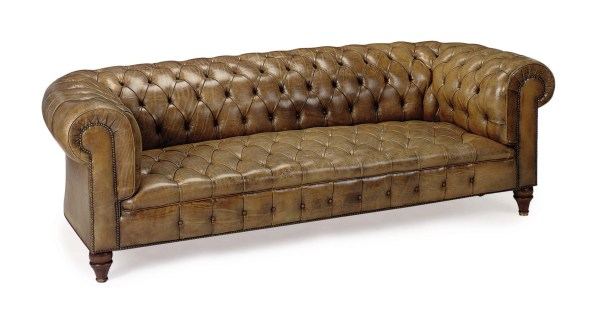 Button-tufted Leather-upholstered Chesterfield Sofa