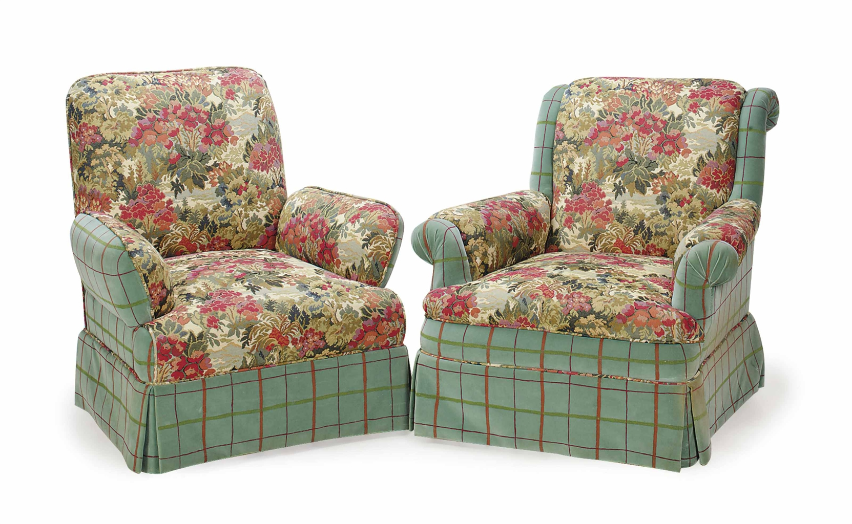 floral upholstered chair bedroom cozy a pair of plaid and plush club chairs