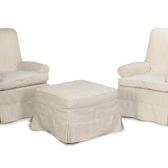 White Club Chairs High Chair Age A Pair Of Off Linen Upholstered And An