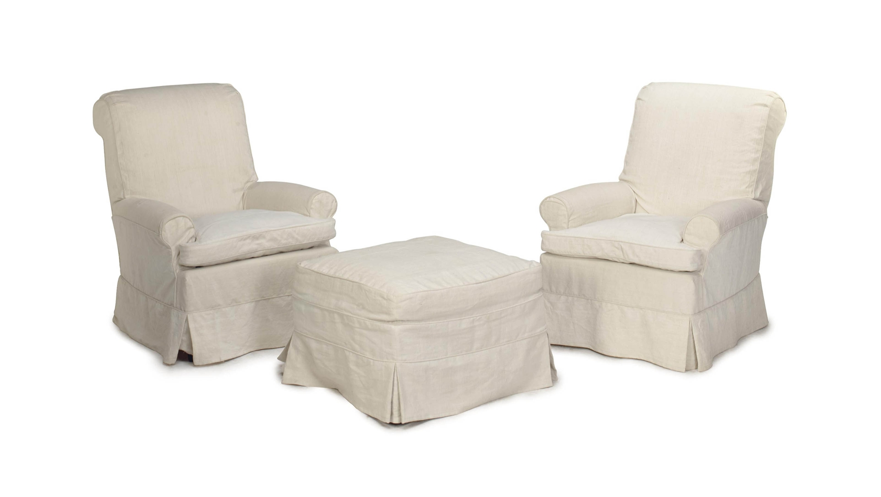 white linen chair patio webbing replacement a pair of off upholstered club chairs and an
