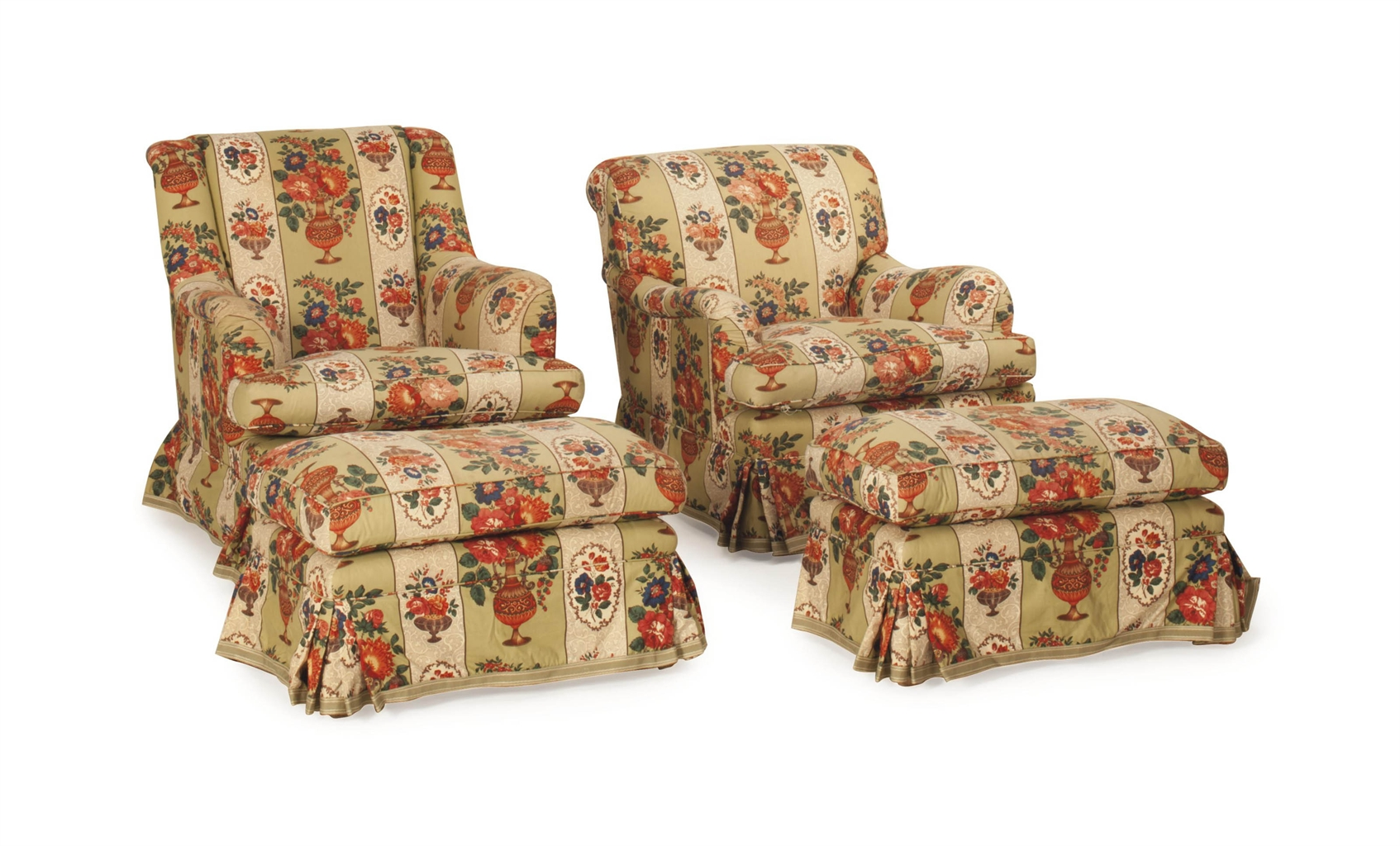 floral upholstered chair game chairs at walmart two pairs of chintz club and a