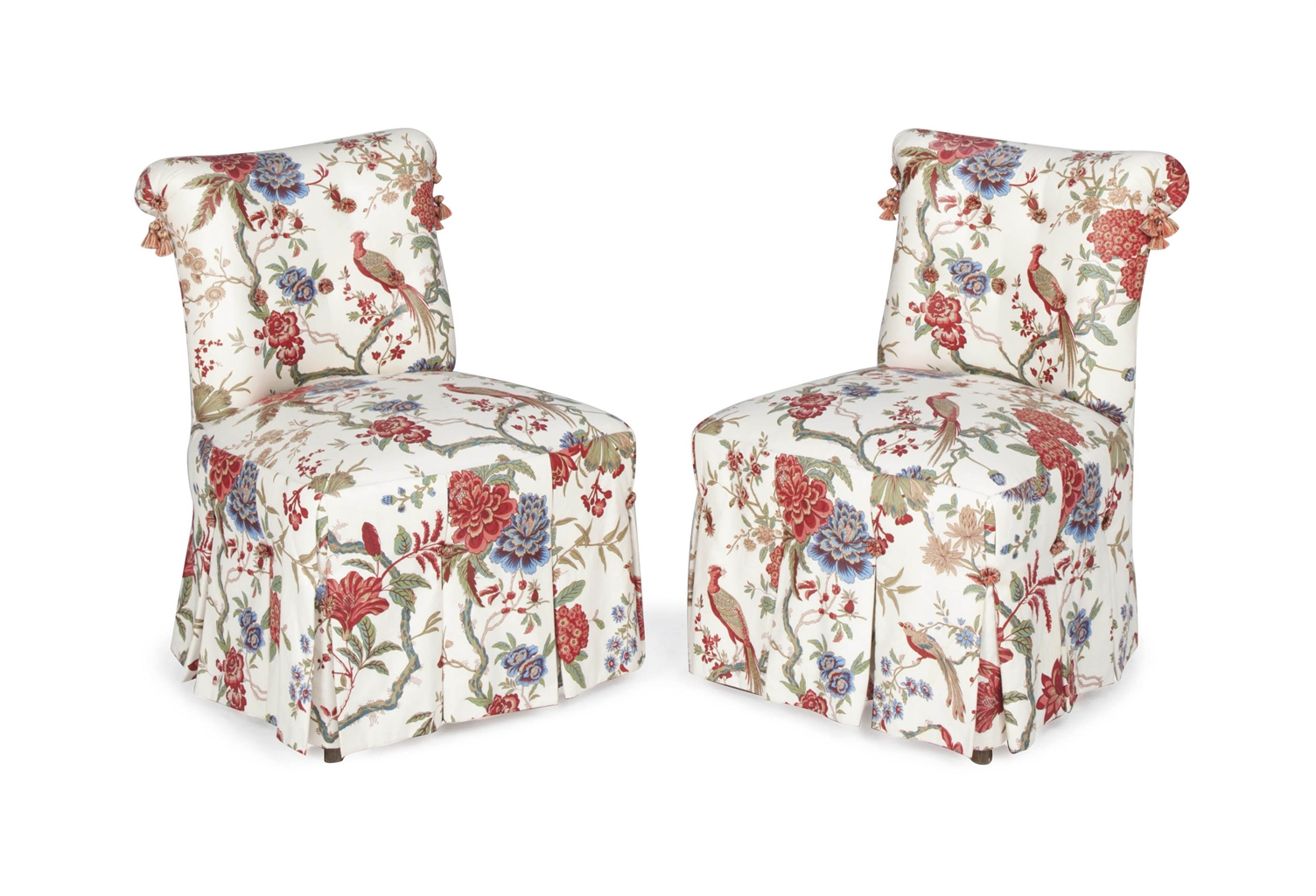 floral upholstered chair rattan chairs and table a pair of cream ground chintz slipper