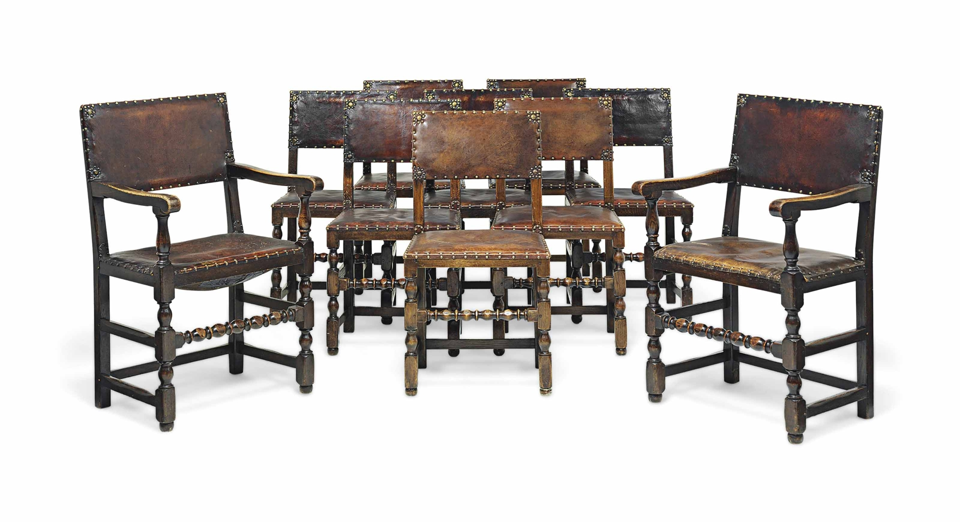 studded dining room chairs outdoor hanging lounge chair a set of ten oak and leather seven