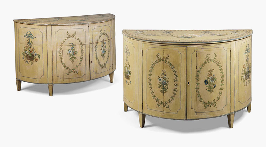 steel chair buyers in india costco anti gravity a z of furniture terminology to know when buying at auction close pair george iii polychrome decorated demi lune commodes early 19th