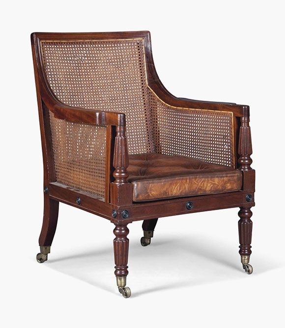 high back chairs with arms cheap folding for sale a z of furniture terminology to know when buying at auction regency mahogany caned library bergere early 19th century 37 in 95 cm