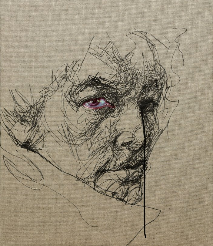 Sara Shamma, Eye 16, 2019. Oil and ink on canvas. Size 4 x 27 in(61 x 71 cm).© Sara Shamma