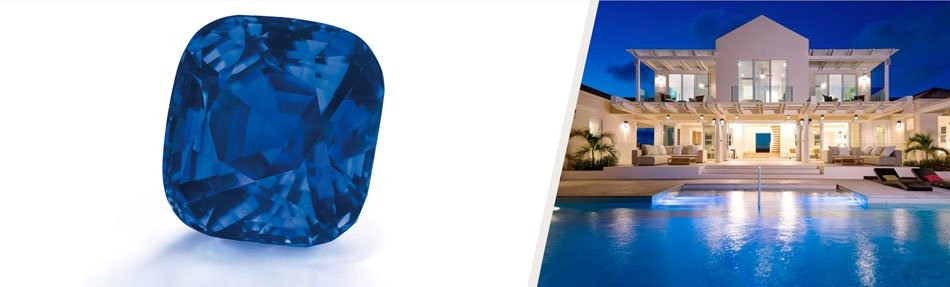 """<i>Left: </i><b><a href=""""http://www.christies.com/lotfinder/jewelry/an-exceptional-sapphire-and-diamond-ring-5895246-details.aspx"""" target=""""_blank"""">A CUSHION-SHAPED KASHMIRE SAPPHIRE RING OF 35.09 CARATS</b></a><br><em>Offered at Christie's Geneva Magnificent Jewels sale<br></em><strong>Estimate: $3,000,000 - $4,000,000</strong><br/><br/><i><br/>Right: </i><a href=""""http://www.christiesrealestate.com/eng/sales/detail/170-l-78215-1311271119156503/long-bay-beach-long-bay-pr-bwi"""" target=""""_blank""""><b>VILLA ISLA ON LONG BAY BEACH</b></a><br/> Providenciales, Turks and Caicos Islands<br/><em>Offered by Regency International</em><br><strong>List price:$4,200,000</strong>"""