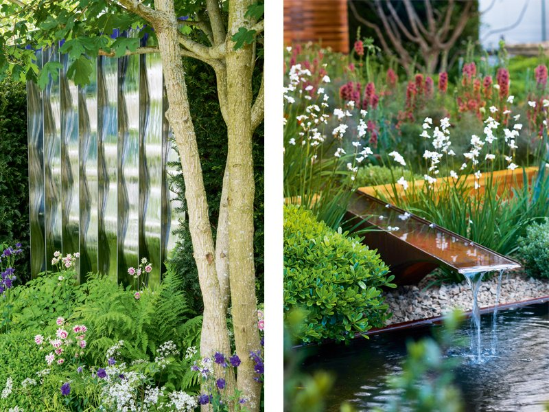 Whether it's created by a statement wall of water or an unobtrusive spout, the sound of moving water evokes a sense of calm. Left: Design by David Harber. Photograph: Marianne Majerus. Right: Design by Joe Swift for Homebase, Teenage Cancer Trust, RHS Chelsea 2012. Photograph: Helen Fickling