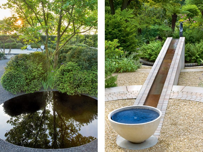 Left: A reflective pool by Matt Keightley. Photograph: Marianne Majerus. Right: A design by Andy Sturgeon for a private country estate in North Wales. Photograph: Helen Fickling
