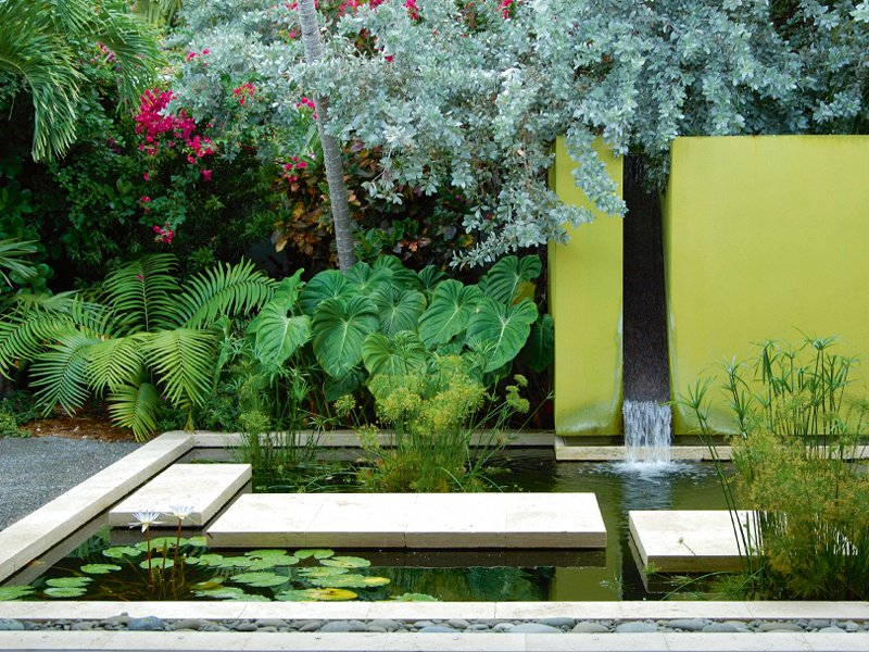 """A series of """"floating"""" slabs forms a walkway across this water garden, part of the Island Modern project by Raymond Jungles at a family retreat in Key West, Florida. Photograph: Lanny Provo"""