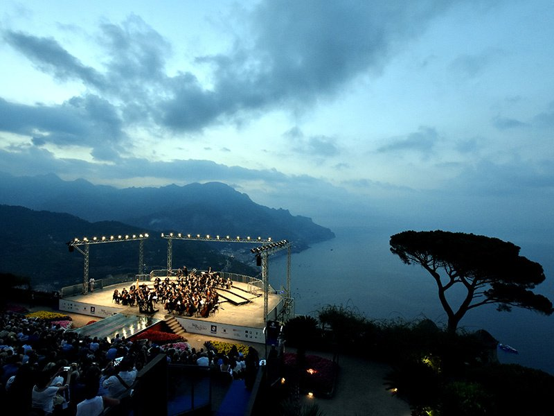 Villa Rufolo hosts the annual Ravello Festival, where orchestras perform on a stage offering dramatic views of the Tyrrhenian Sea.