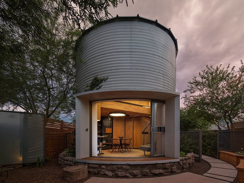 """Silo House in downtown Phoenix, Arizona, is a converted 1955 corrugated steel grain silo, achieving a sense of """"home"""" even within a non-traditional shape. Photograph: Matt Winquist"""