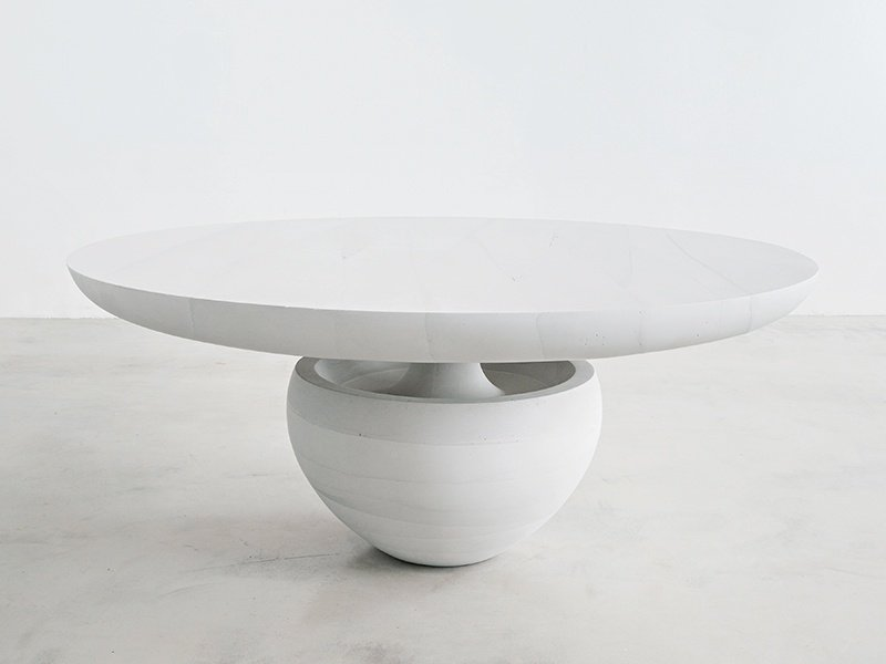 The Ghost dining table is from a series of furniture inspired by fallen snow, and it is made of cement. Photograph: Laura Barisonzi.