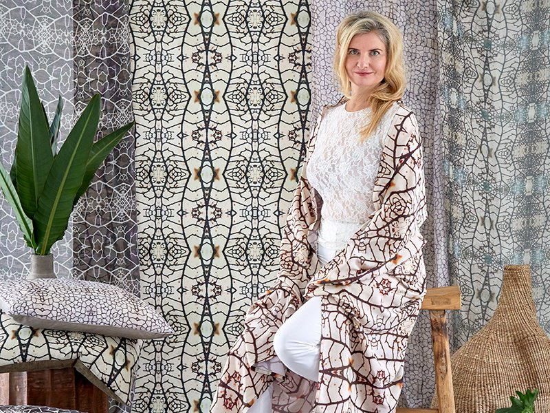 Fabrics and cushions from Andrea Brand's Traces collection, here invoking Autumn. Photograph: Greg Cox.