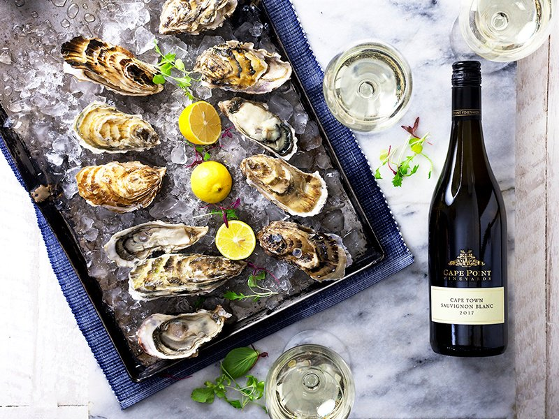 The wines produced at Cape Town's Cape Point winery are paired with oysters freshly caught off the coast surrounding the vineyards.