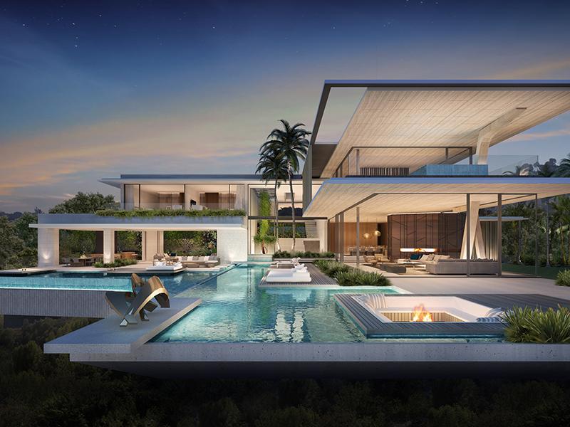Casa de plano aberto com piscina ao entardecer
