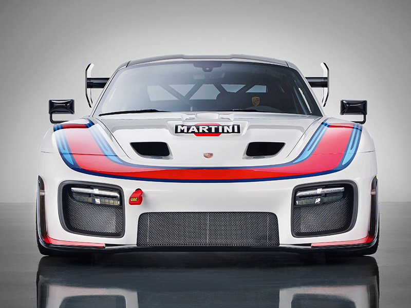 Porsche 935 2018 racing car in Martini's red white and blue colorway