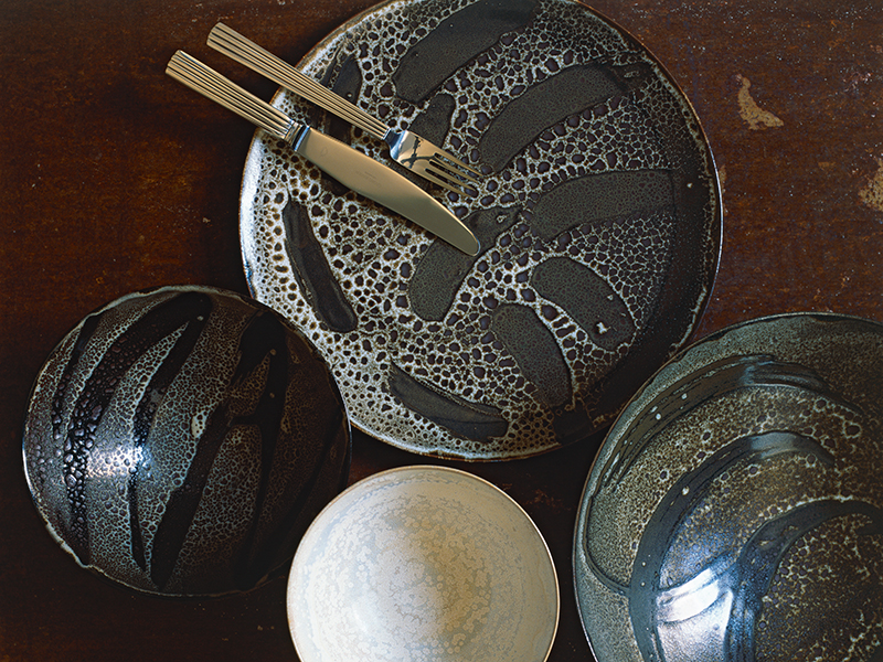 Rebecca Willer patterned dishes with knife and fork
