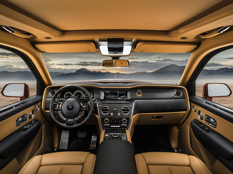 Interior and dashboard of Rolls-Royce Cullinan SUV