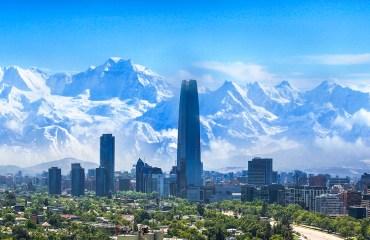 Santiago Chile mountains city buildings banner 1