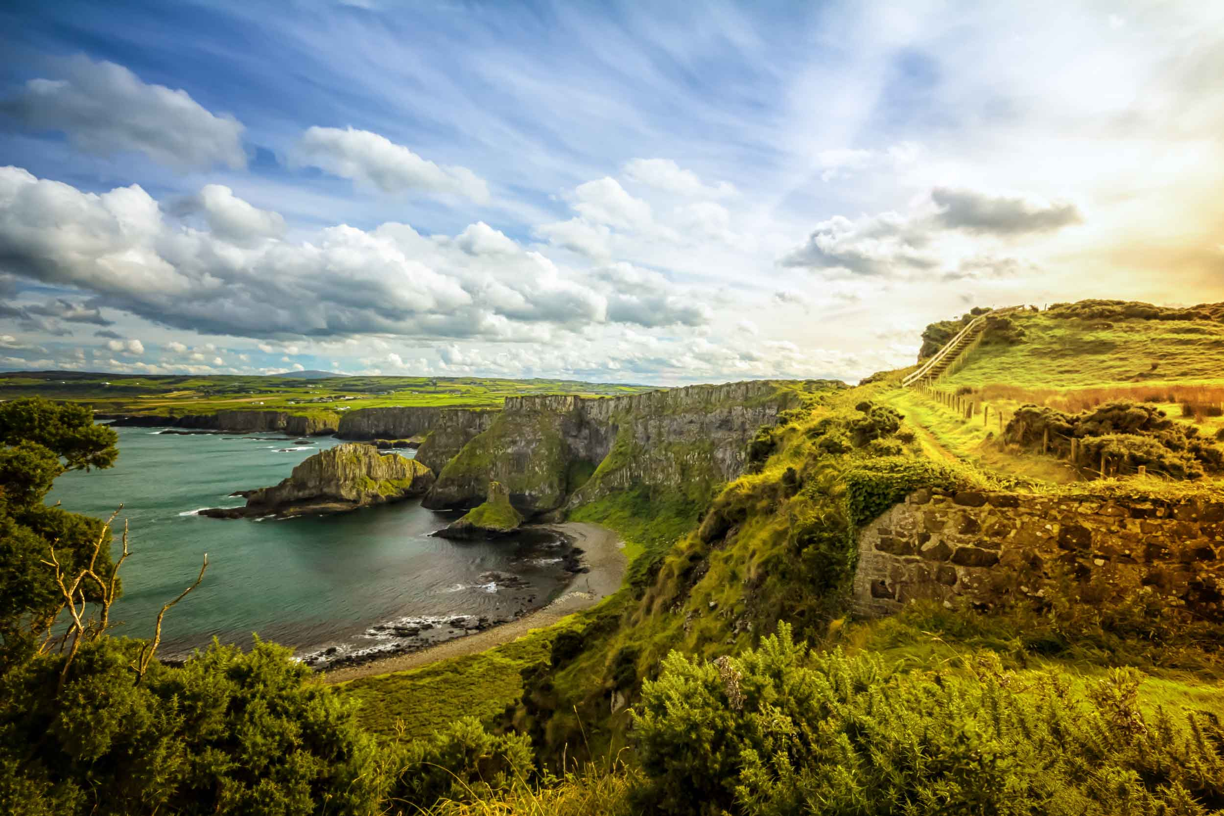 Ireland's legendary landscape and dramatic coastline are graced with ancient ruins and historic castles, churches, and country estates.