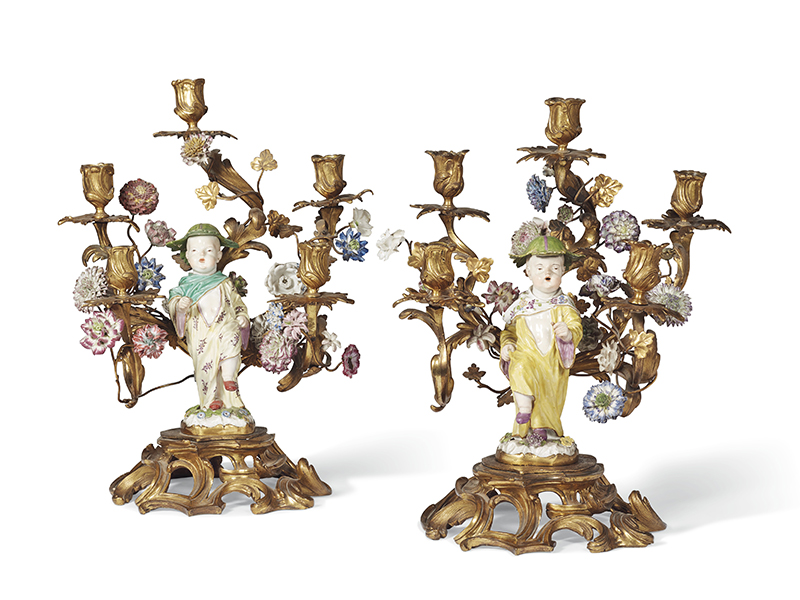 Antique candlesticks for auction at Christie's