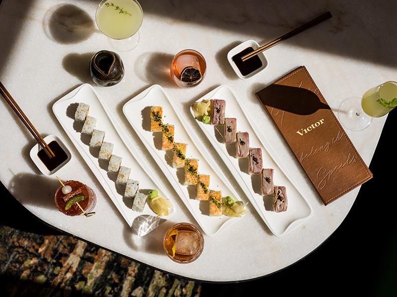 The-Victor-restaurant-sushi-tablescape-menu-cocktails