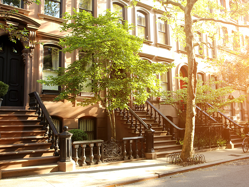 Rows of brownstones in New York's West Village