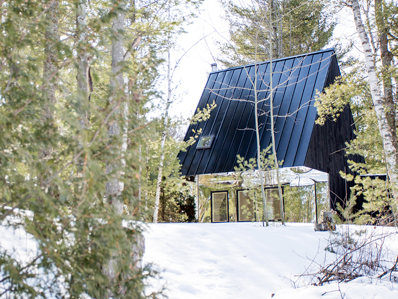 An A-frame cabin surrounded by snowy woodland