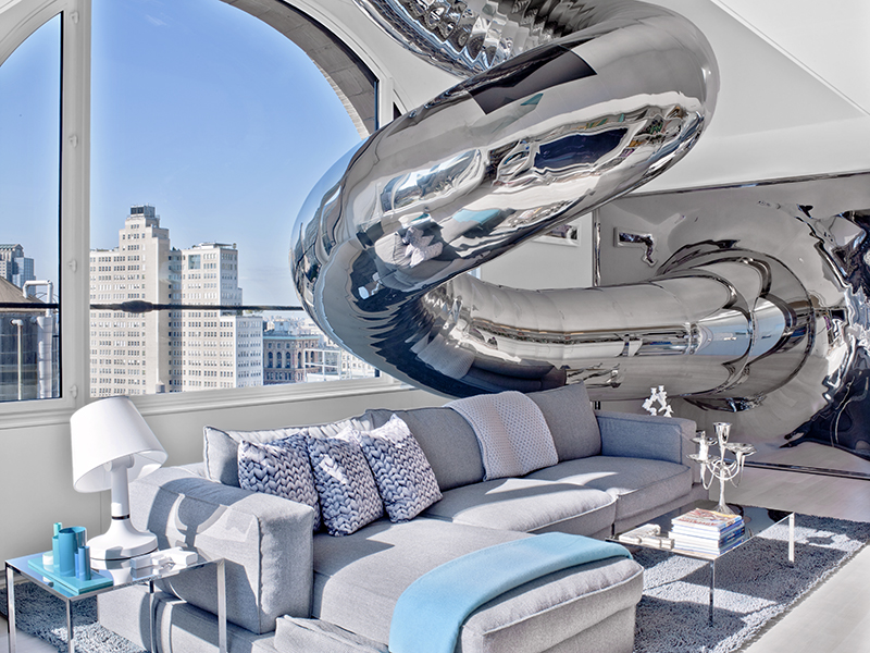 The living room of Skyhouse in New York City