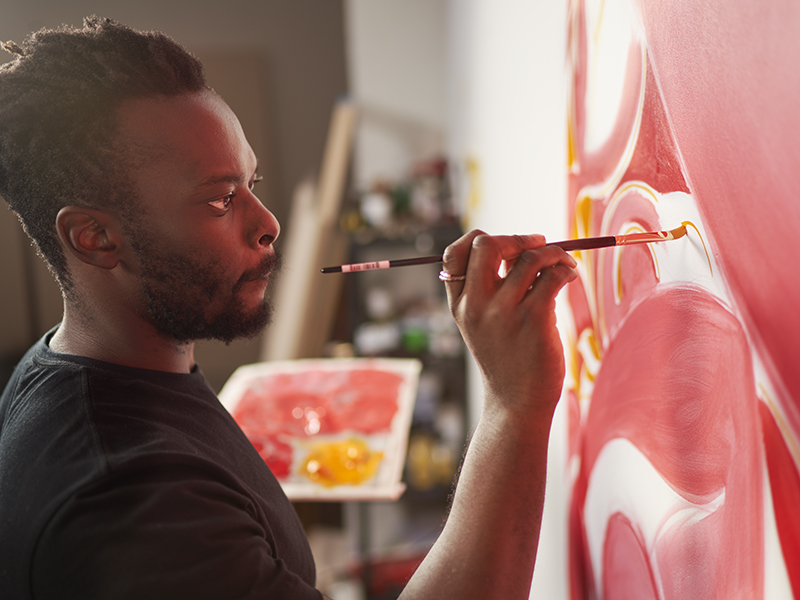 Artist Tunji Adeniyi-Jones at work