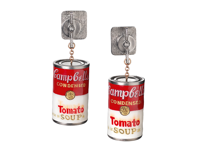 Suzanne Syz's Warhol earrings in the shape of Campbell's soup cans
