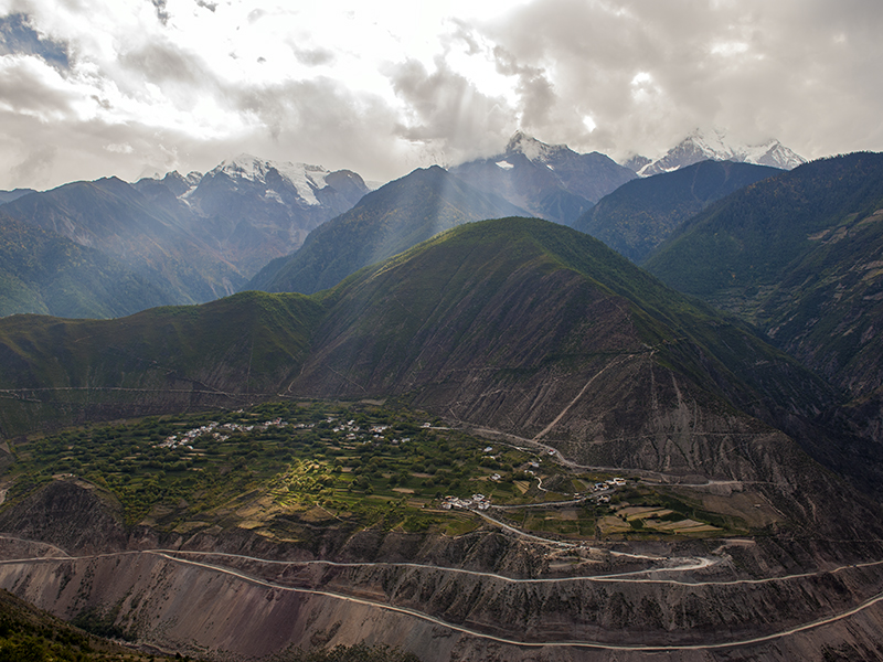 View over the Mekong valley with Meili mountain in the backgroun