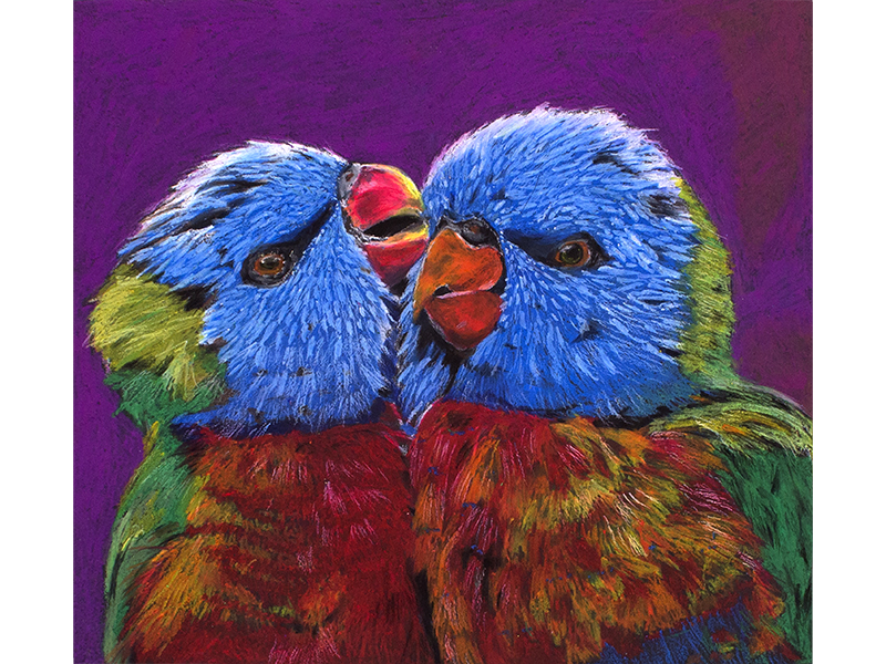 A pastel drawing of two colorful parrots