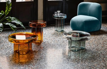 Glass coffee tables and chair